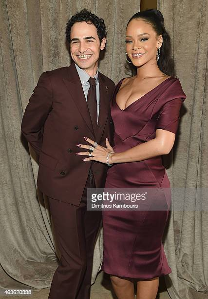 Designer Zac Posen and Rihanna attends Zac Posen attends Front Row & Backstage - Mercedes-Benz Fashion Week Fall 2015 at Vanderbilt Hall at Grand...