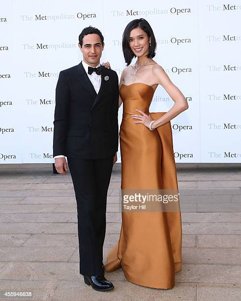 Designer Zac Posen and Tao Okamoto attend the season opening performace of The Marriage of Figaro at The Metropolitan Opera House on September 22...