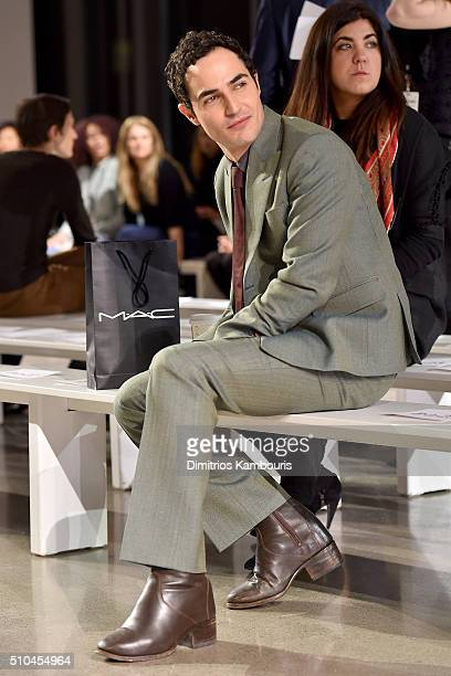 Designer Zac Posen appears backstage at the Zac Posen Fall 2016 fashion show during New York Fashion Week at Spring Studios on February 15 2016 in...