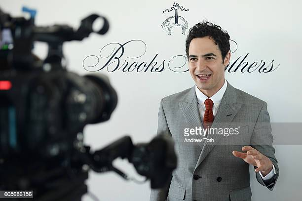 Designer Zac Posen is interviewed at the Brooks Brothers SS 2017 Presentation during New York Fashion Week with creative director Zac Posen at The...