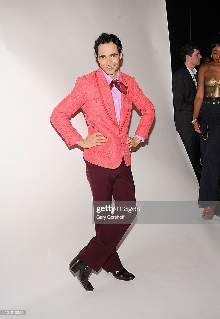Designer Zac Posen poses for pictures backstage after attending the Z Spoke by Zac Posen Spring 2011 fashion show during Mercedes-Benz Fashion Week at The Theater at Lincoln Center on September 11, 2010 in New York City.