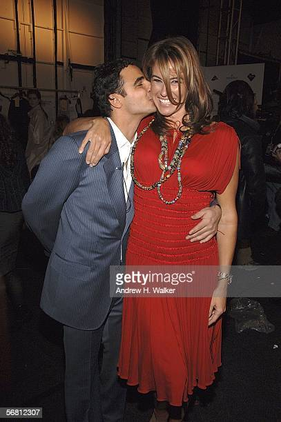 Designer Zac Posen poses with Kelly Bensimon backstage at the Zac Posen Fall 2006 fashion show during Olympus Fashion Week at Bryant Park February 9...