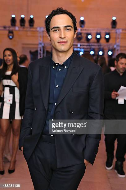 Designer Zac Posen prepares backstage at the Zac Posen Spring 2016 fashion show during New York Fashion Week at Vanderbilt Hall at Grand Central...