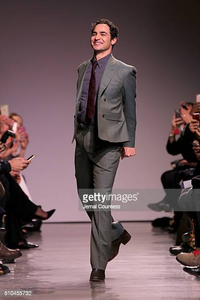 Designer Zac Posen walks the runway wearing Zac Posen Fall 2016 during New York Fashion Week at Spring Studios on February 15, 2016 in New York City.