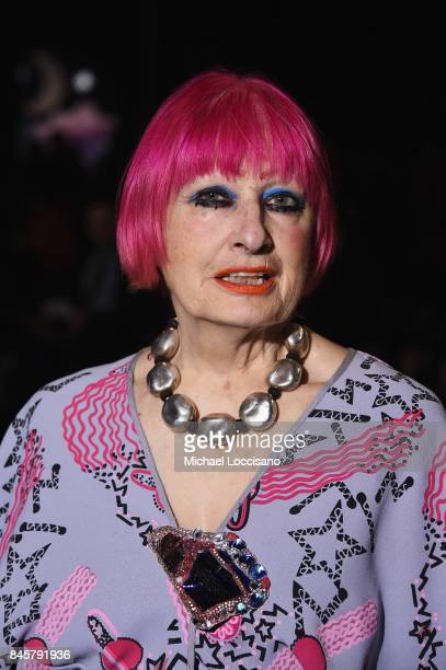 Designer Zandra Rhodes attends Anna Sui fashion show during New York Fashion Week The Shows at Gallery 1 Skylight Clarkson Sq on September 11 2017 in...