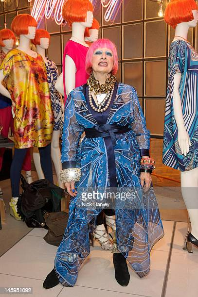 Designer Zandra Rhodes attends the launch of Advanced Style hosted by Mary Portas and Ari Seth Cohen at Mary's Shop, House of Fraser, Oxford Street...