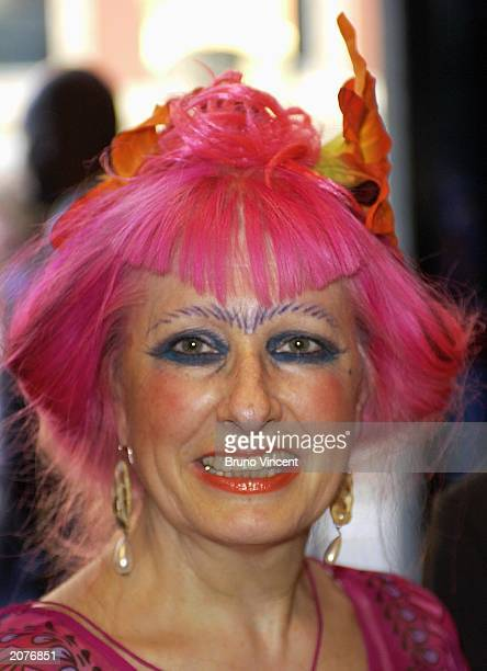 Designer Zandra Rhodes attends the Royal College of Art fashion show June 12 2003 at Royal College of Art in London United Kingdom