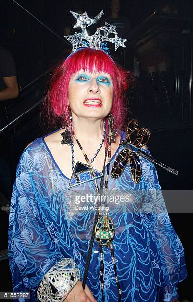 Designer Zandra Rhodes is a judge at the Alternative Miss World the Club Cirque on October 22 2004 in London A panel of judges choose one winner from...