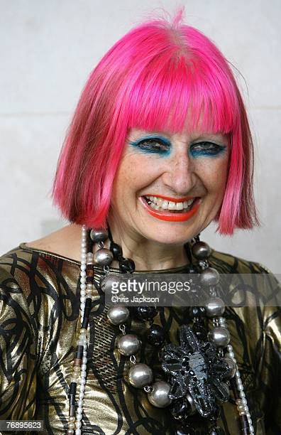Designer Zandra Rhodes is seen at the Fashion Fringe show during London Fashion Week 2007 at Covent Garden Piazza on September 20 2007 in London...