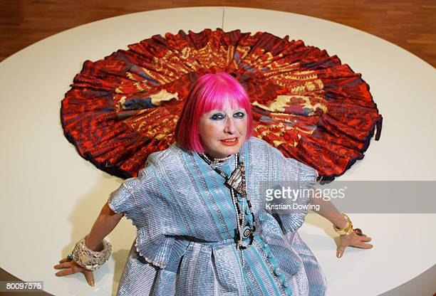 Designer Zandra Rhodes poses during the Zandra Rhodes VIP Showing as part of the L'Oreal Melbourne Fashion Festival on March 4 2008 in Melbourne...