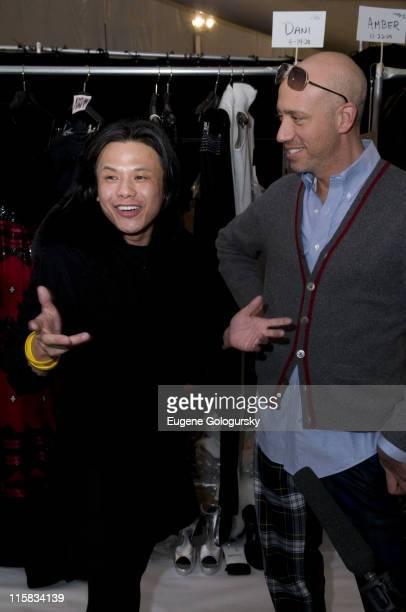 Designer Zang Toi and Robert Verdi Riyo Mori attends Zang Toi Fall 2008 during MercedesBenz Fashion Week at The Promenade Bryant Park in New York...
