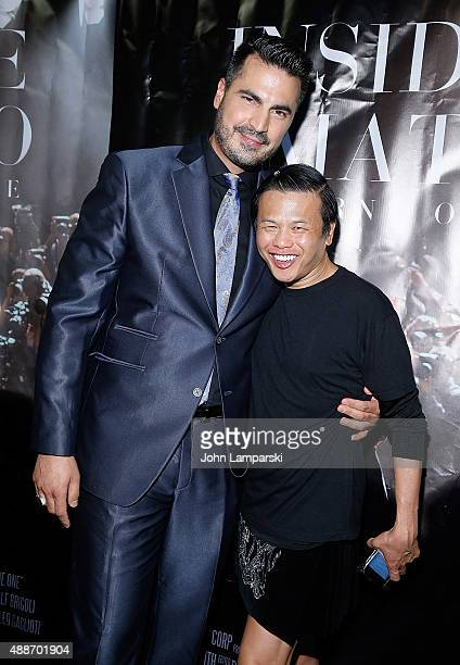 Designer Zang Toi and Rocco Leo Gaglioti attend 'Inside Amato' New York premiere at Liberty Theater on September 16 2015 in New York City