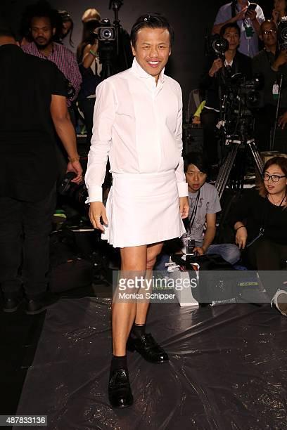 Designer Zang Toi poses backstage at the Zang Toi fashion show during Spring 2016 New York Fashion Week The Shows at The Dock Skylight at Moynihan...