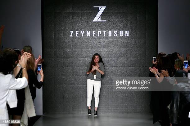 Designer Zeynep Tosun walks the runway at the Zeynep Tosun show during Mercedes Benz Fashion Week Istanbul FW15 on March 19 2015 in Istanbul Turkey