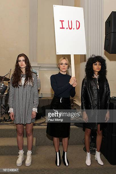Designer/actress Chloe Sevigny poses with models at Chloe Sevigny For Opening Ceremony Presentation during Fall 2013 MercedesBenz Fashion Week on...