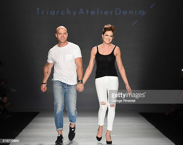 Designers Adam Taubenfligel and Ania Taubenfligel present their 2016 collection during Toronto Fashion Week Fall 2016 at David Pecaut Square on March...