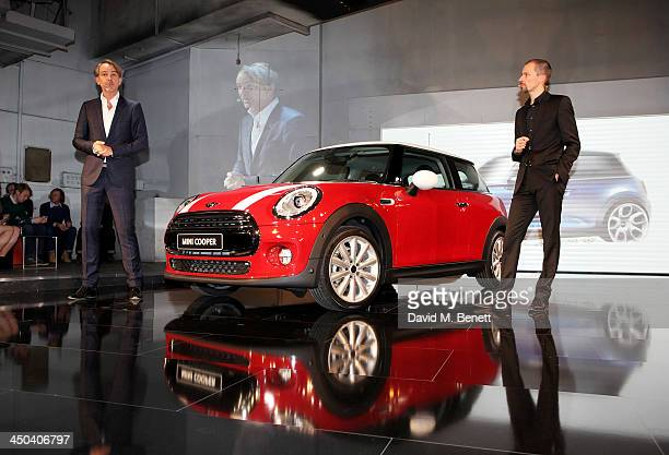Designers Adrian van Hooydonk and Anders Warming speaks at the World Premiere of the new MINI at the Old Sorting Office on November 18 2013 in London...