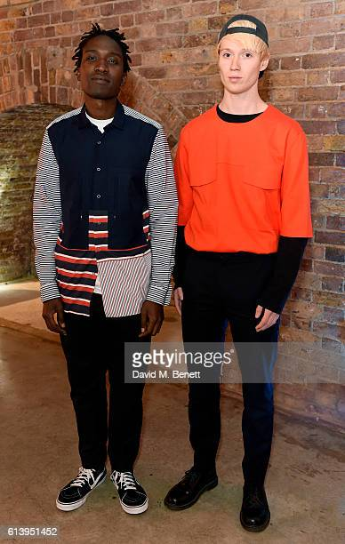 Designers Agape Mdumulla and Sam Cotton of Agi & Sam attend the Agi & Sam x Lacoste L!ve Collection Launch on October 11, 2016 in London, United...