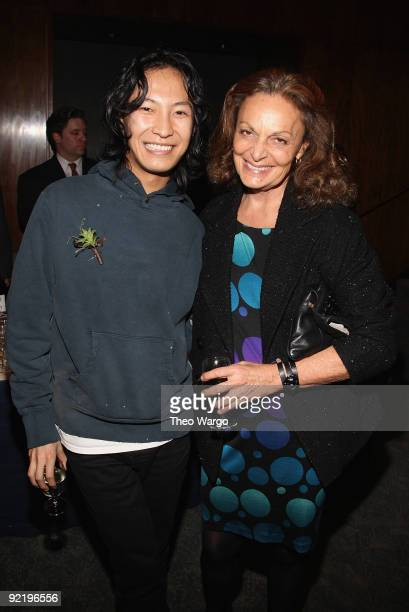Designers Alexander Wang and Diane von Furstenberg attend the 2009 Council of Fashion Designers of America's new members reception at the Four...