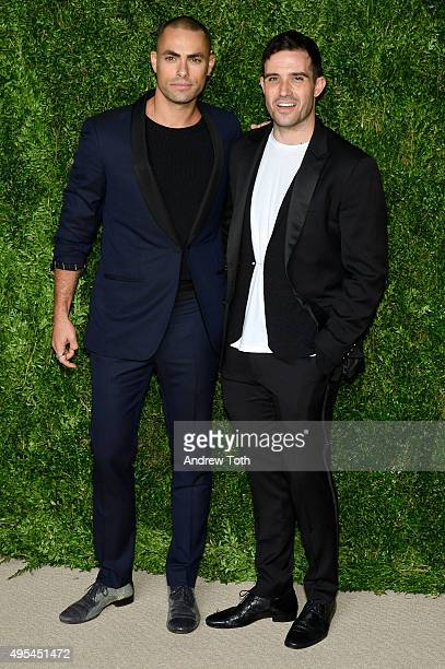 Designers and finalists Scott Studenberg and John Targon of Baja East attend the 12th annual CFDA/Vogue Fashion Fund Awards at Spring Studios on...