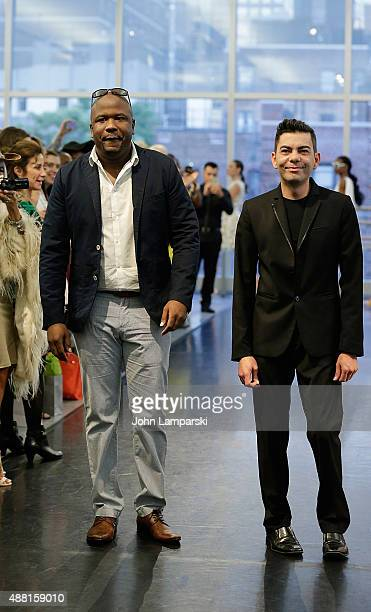 Designers Andre Bell and Luis Nazario walk the runway at Binzario Couture Runway during Spring 2016 New York Fashion Week at Alvin Ailey American...