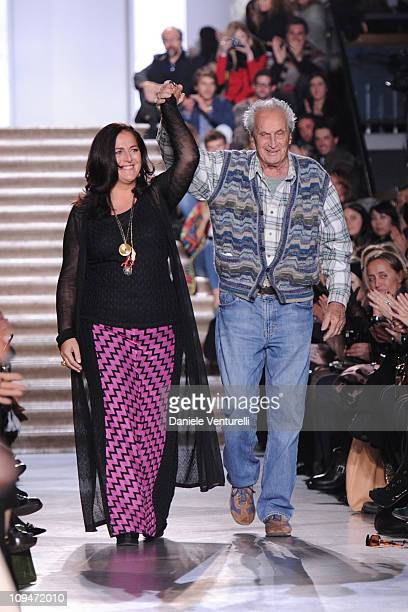 Designers Angela Missoni and Ottavio Missoni acknowledge the applause of the public after Missoni fashion show as part of Milan Fashion Week...