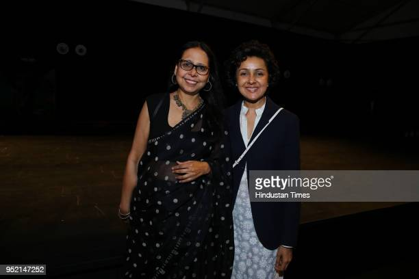 Designers Anju Modi and Payal Jain during the event Khadi Transcending Boundaries It included a fashion show by designers Anju Modi Poonam Bhagat...