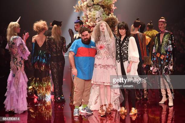 Designers Anna Plunkett and Luke Sales thanks the audience following the Romance Was Born show at MercedesBenz Fashion Week Resort 18 Collections at...