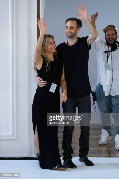 Designers Antonia Goy and Bjoern Kubeja pose at the Antonia Goy Defile during 'Der Berliner Mode Salon' Spring/Summer 2018 at Kronprinzenpalais on...