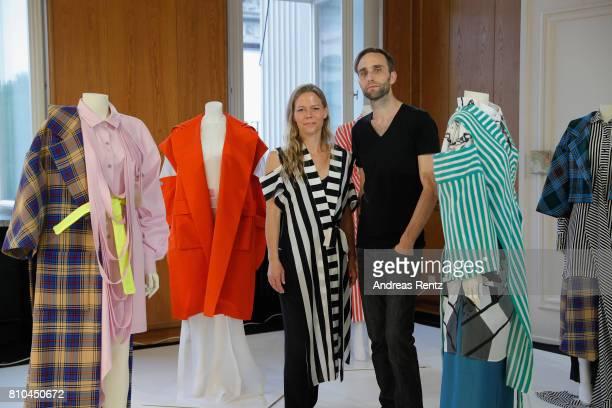 Designers Antonia Goy and Bjoern Kubeja pose at the Group Presentation during 'Der Berliner Mode Salon' Spring/Summer 2018 at Kronprinzenpalais on...