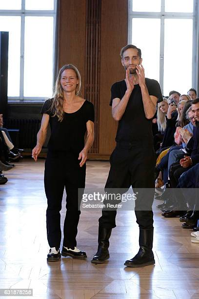 Designers Antonia Goy and Bjoern Kubeja walk the runway at the Antonia Goy defile during the Der Berliner Mode Salon A/W 2017 at Kronprinzenpalais on...