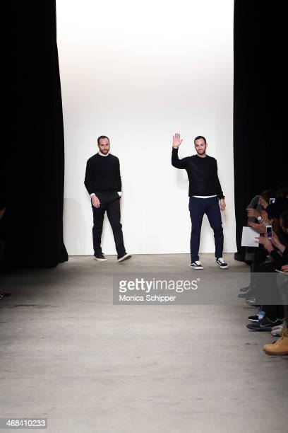Designers Ariel Ovadia and Shimon Ovadia of Ovadia Sons at the Ovadia Sons presentation during MercedesBenz Fashion Week Fall 2014 at Eyebeam on...
