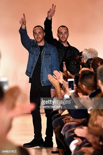 Designers Ariel Ovadia and Shimon Ovadia pose at the end of the Ovadia Sons Runway show at New York Fashion Week Men's S/S 2017 show at Skylight...