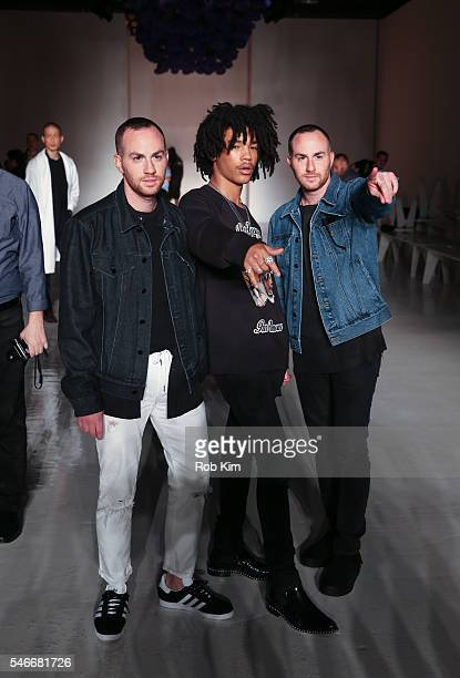 Designers Ariel Ovadia and Shimon Ovadia pose with model Luka Sabbat at the Ovadia Sons fashion show during New York Fashion Week Men's S/S 2017 at...