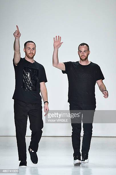 Designers Ariel Ovadia and Shimon Ovadia walk the runway at the Ovadia Sons Collection during New York Fashion Week Men's S/S 2016 at Skylight...