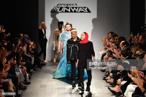 Designers Ayana Ife Michael Brambila and Brandon Kee walk the runway at the Project Runway fashion show during New York Fashion Week The Shows at...