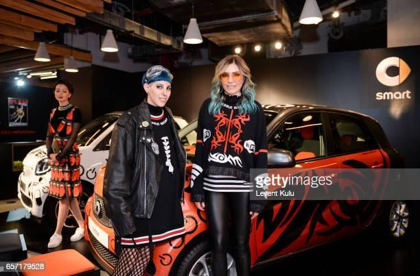 Designers Begum Berdan and Deniz Berdan attend MercedesBenz Istanbul Fashion Week March 2017 at Grand Pera on March 23 2017 in Istanbul Turkey