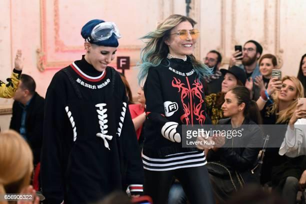 Designers Begum Berdan and Deniz Berdan on the runway the runway at the MercedesBenz Presents DB Berdan show during MercedesBenz Istanbul Fashion...