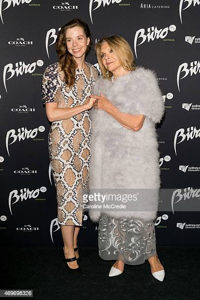 Designers Bianca Spender and Carla Zampatti attend the Buro 24/7 Australia launch at the Sydney Opera House on April 14 2015 in Sydney Australia