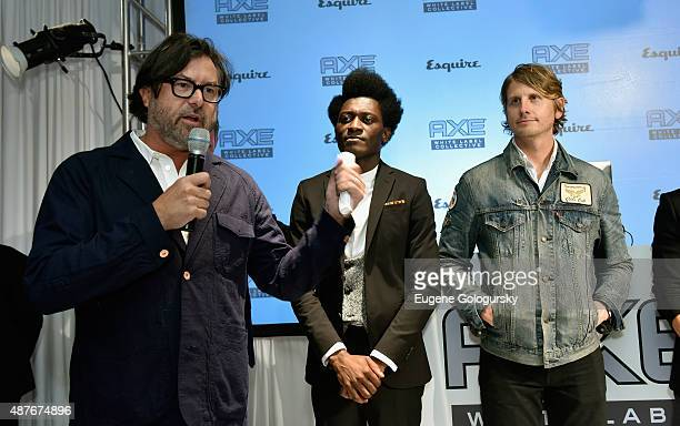 Designers Billy Reid Afriyie Poku and Ryan Barr speak onstage as AXE and Esquire present the AXE White Label Collective during the opening night of...