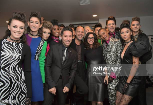Designers Brian Wolk and Claude Morais and stylist Elizabeth Stewart attend the Wolk Morais Collection 6 Fashion Show at The Hollywood Roosevelt...