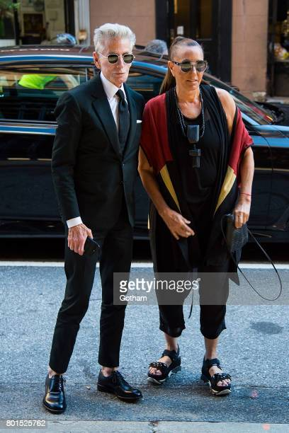 Designers Calvin Klein and Donna Karen attend a dinner honoring Anna Wintour on June 26 2017 in New York City