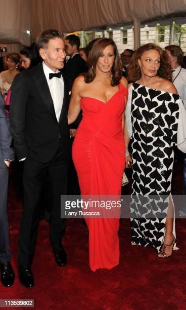 Designers Calvin Klein Donna Karan and Diane von Furstenberg attend the Alexander McQueen Savage Beauty Costume Institute Gala at The Metropolitan...
