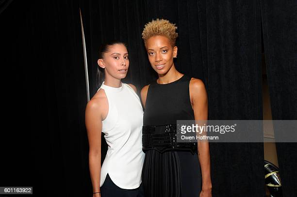 Designers Carly Cushnie and Michelle Ochs backstage at the Cushnie et Ochs fashion show during New York Fashion Week: The Shows at The Dock, Skylight...