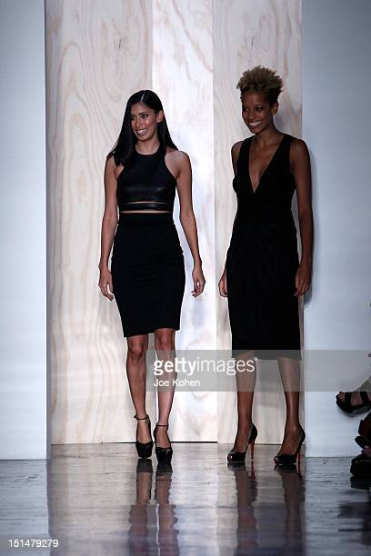 Designers Carly Cushnie and Michelle Ochs walk the runway at the Cushnie et Ochs spring 2013 fashion show during Mercedes-Benz Fashion Week at Milk...