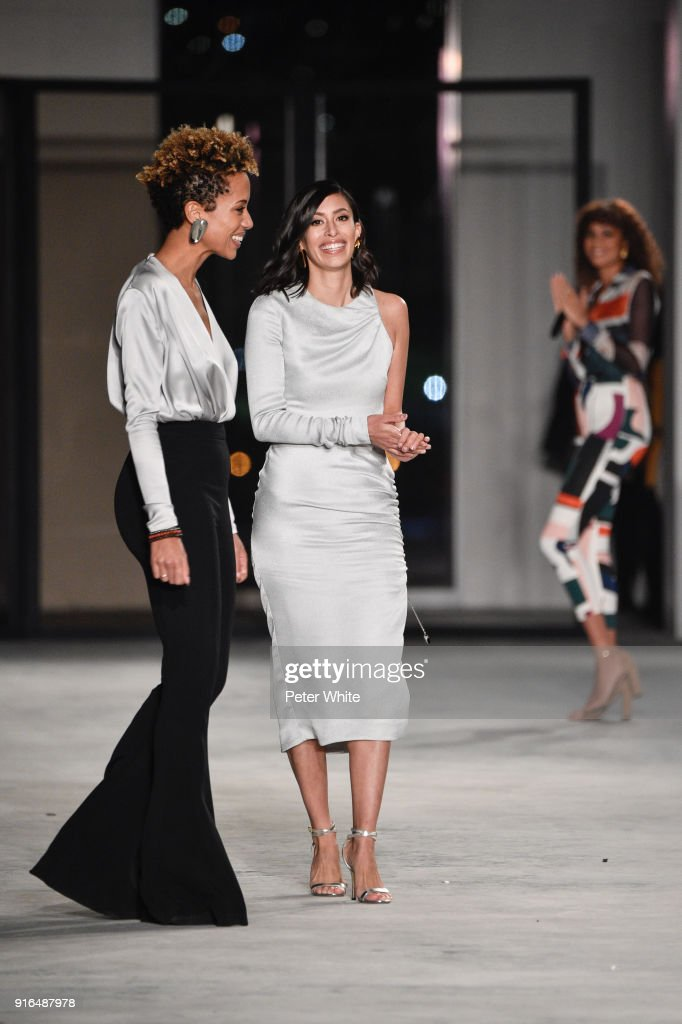 Designers Carly Cushnie and Michelle Ochs walk the ruway for Cushnie Et Ochs during New York Fashion Week: The Shows at Pier 17 on February 9, 2018 in New York City.