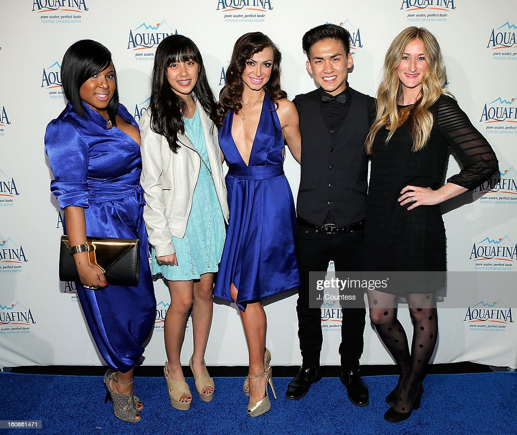 Designers Carmen Green, Alaina Thai, dancer and host Karina Smirnoff, designer Tony Vo and designer Ashley Cooper attend the Aquafina 'Pure Challenge' After Party at The Empire Hotel Rooftop on February 6, 2013 in New York City.