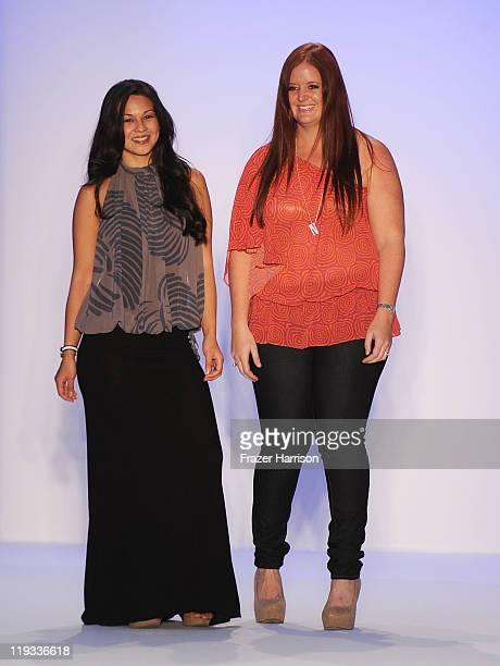 Designers Charlene Harmer and Nikki Silverthorne walk the runway at the Kooey Swimwear Australia show during MerecedesBenz Fashion Week Swim 2012 on...