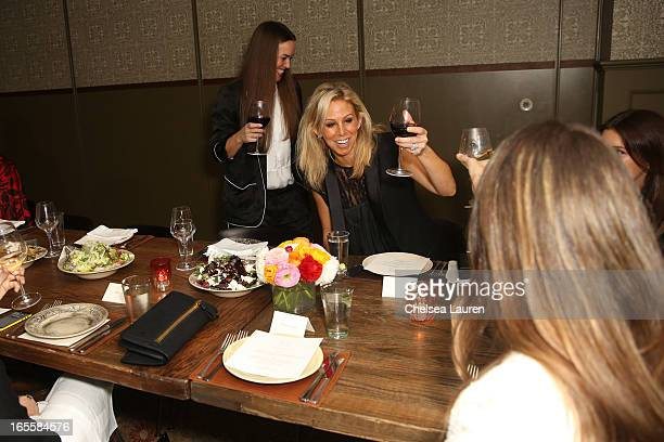 Designers Christie Smythe and Andrea Lenczner give a toast at the SMYTHE Spring 2013 Dinner Hosted By Designers Andrea Lenczner And Christie Smythe...