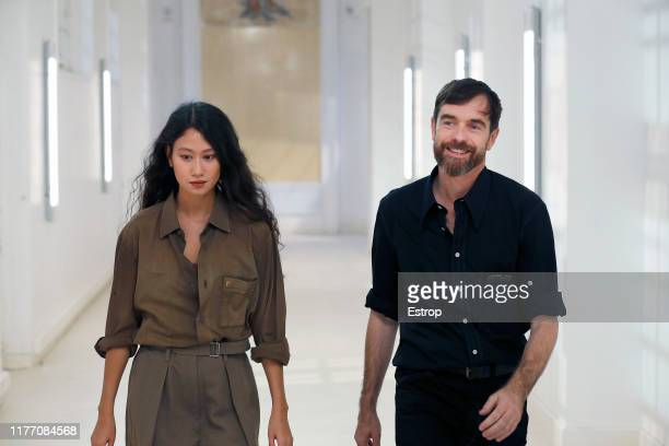 Designers Christophe Lemaire and Sarah-Linh during the Lemaire Womenswear Spring/Summer 2020 show as part of Paris Fashion Week on September 25, 2019...